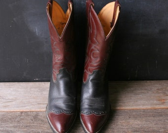 Cowboy Boots  Country Western Leather Boots Larado Black and Brown Women US 6 Vintage From Nowvintage on Etsy