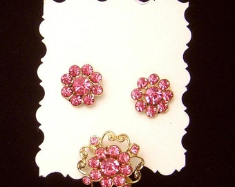 Vintage pink rhinestone pin and Earrings
