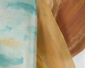 Camel silk scarf hand painted. Silk scarf painted. Golden ochre scarf. Floral silk scarf. Summer scarf Hand painted. Luxury scarf for mom
