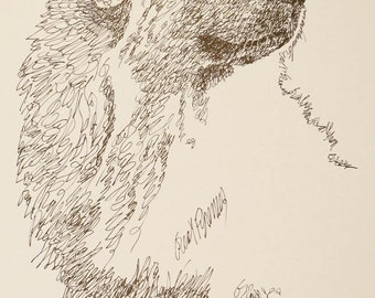 Great Pyrenees dog art portrait drawing from words. Your dog's name added into art FREE. Great gift. Signed Kline 11X17 Lithograph 49/500.