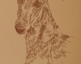 Greyhound FAWN - Artist Kline draws dog art using only words. Signed 11x17 Lithograph 329/500 Artist Will Add Your Dogs Name Into Art Free