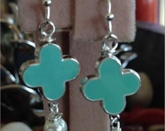 Mint Green, Quatrefoil, Clover, Enamel, Earrings, Pearl Beads