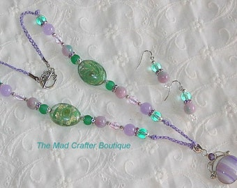 Lavender and Green Beaded Crocheted Necklace with Pendant