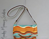 Messenger Bag in Teal Waves - Converts to Tote - Nutmeg Gold Aqua Cross Body Purse - Custom Length Leather Strap - Plus Size