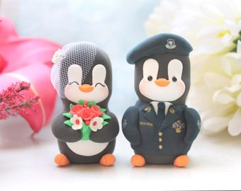 Wedding cake toppers Military Penguins - US Air Force uniform - with hat - red white birdcage veil navy blue yellow coral pink gold silver