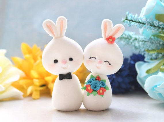 Unique Bunny wedding cake toppers - bride and groom figurines custom rabbit elegant rustic country blue coral red cute funny farm animal