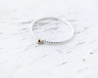 Dainty 14kt gold bead silver twisted ring