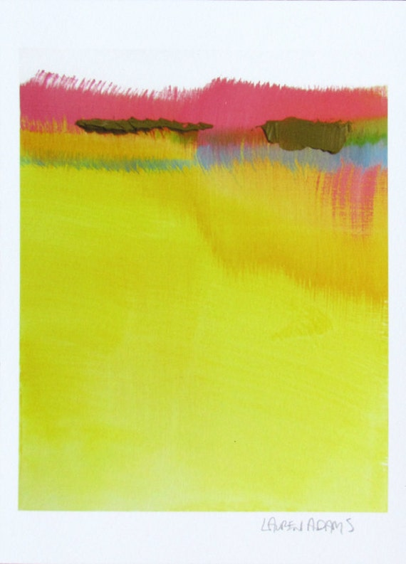 "Yellow Modern Abstract Landscape Art Print, 5x7"" giclee print, yellow, blue, pink, ""Sun River"", watercolor print, abstract print"