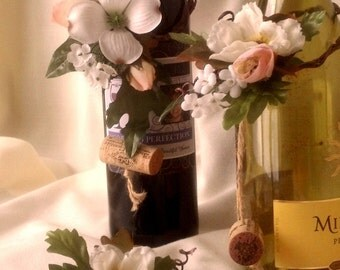 Custom AmoreBride Wine Bottle Toppers -Set of 6-Made to Order in Michigan Bridal Shower Centerpieces Woodland neutral wedding accessories