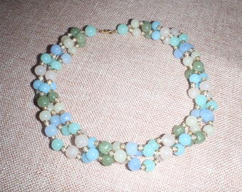 Vintage Spring Necklace - Pastel Colored Choker for Women - Nine inches Long