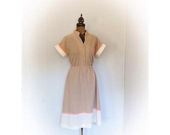 Vintage 1970s Dress Nude Knit  Union Made Bayard Sport