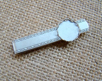 Brushed Matte Silver Tie Clip, with a 15mm lace edge bezel setting - The Perfect Blank Canvas for Your Designs - No. TC917MLE