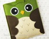 "iPad Sleeve, iPad Case, Felt iPad sleeve, Felt iPad case, iPad felt sleeve, iPad cover, iPad mini sleeve, iPad Air case, ""green owl design"""