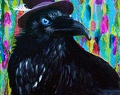 Black Raven or Crow painting 8x10 print titled Beautiful Dreamer