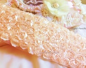 """Lt. Peach Satin Shabby 5 Rows Rosette Trim- 2.75""""x 1 yard for Boutique Dresses, Weddings, Altered Crafts"""