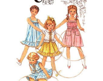 Girls Dress & Jacket Pattern Simplicity 5466 Cinderella Sundress Ruffle Peter Pan Collar Girls Size 6 Sewing Pattern UNCUT