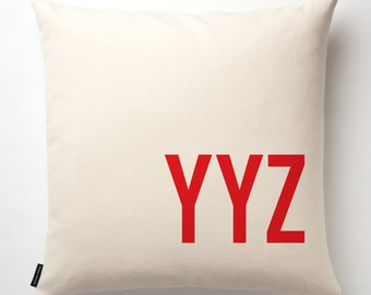 Airport Code Pillow in Off-white