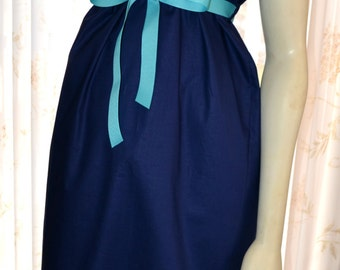 Maternity Hospital Gown/Milk Breaks nursing feature are an available option/Navy