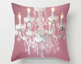 Baby Girl Nursery Pillow Cover, Dreamy Pink White Chandelier Pillow Cover, Baby Nursery Chandelier Decor, Pink White Decorative Pillow Case