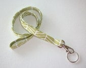 Lanyard  ID Badge Holder -  Lobster clasp and key ring New Thinner  Design - Grass green herringbone
