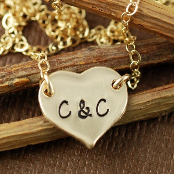 Gold Heart Necklace, Love Necklace, Gold Initial Necklace, 14kt Gold Filled Chain Necklace, Bridal Jewelry