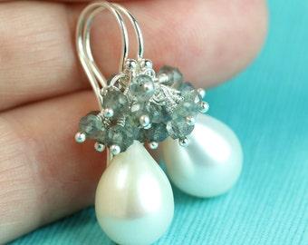 Pearl Drop Earrings with Labradorite gemstone cluster, Argentium silver French hooks, Keepsake jewelry, by art4ear, free shipping in Canada