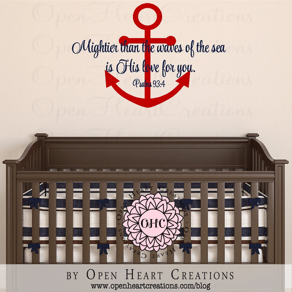 nautical boat anchor wall decal with bible verse mightier. Black Bedroom Furniture Sets. Home Design Ideas
