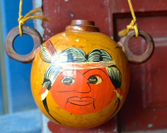 Vintage drinking gourd with carry string - Venezuela