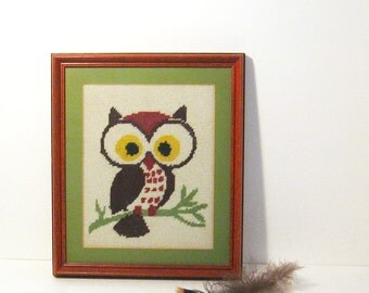 Wise Old Owl Framed Needlepoint Picture Vintage Home Library Decor