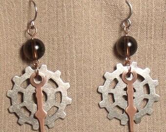 Steampunk gear earrings, mixed metals, smoky quartz bead. 061416
