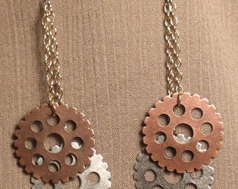 Steampunk gear earrings, mixed metals. 061422