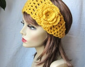 Crochet Headband, Flower, Fall Autumn Headband, Mustard Yellow or Pick Color, Gifts for her, Photo Prop, Birthday Gifts Handmade HBJE124F