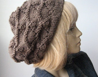 Taupe Heather Knit Hat, Taupe Lacy Slouchy, Fall Fashion, The Beverly Hat, Womens Accessories, Womens Hat, Knit Slouchy Hat