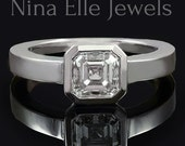 Asscher Cut Bezel Set Solitaire Diamond Engagement Ring A15