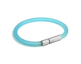 Light Blue Rubber Bracelet 5mm Rubber 6mm Clasp