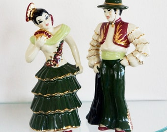 Vintage Ceramic Arts Studio Figurines Flamenco Dancers Spanish Couple  CAS Set of Two 1950s