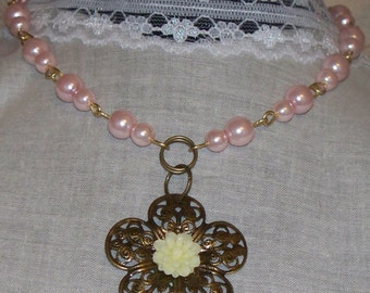 Flower Girl Necklace, Wedding Jewelry, Cream Flower Cabachon, Flower Filigree, Light Pink Glass Pearl Necklace