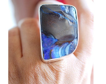 Cliff Side Ring Raw Boulder Opal