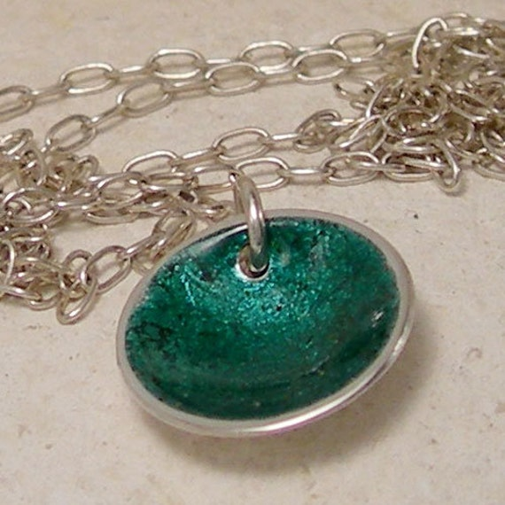 items similar to small silver emerald necklace
