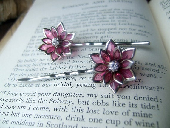 Pink flower stained glass rhinestone silver plated hair pins