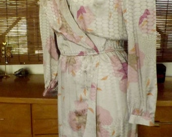 Vintage 80s Silver and Lavender Floral Silk Tulip Hem Midi Dress L Free shipping