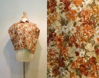 Vintage Boxy Dolman Rust Floral Crop Top
