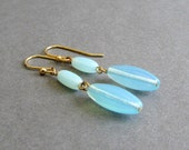 Light Aqua Blue Glass Drop Earrings with Choice of Sterling Silver or 14k Yellow Gold Plated Metal, Linear Minimalist Design- Classic No. 22
