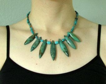 "Blue Green Turquoise Dagger Necklace, Bold Spiked Bib, Gemstone Collar Statement Necklace, December Birthstone, Adjustable Length, ""Compel"""
