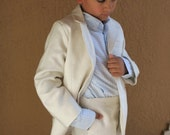 Great Gatsby inspired linen 2 piece suit jacket and dress pants first communion special occasion ring bearer