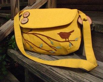 Bird Purse, Canvas Tote, Bird Tote, Vegan Nature Bag, Dandelion, Bird Messenger, Tote, Ultra Suede applique