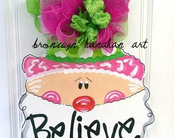Pink + Green Santa Door Hanger - Bronwyn Hanahan Art