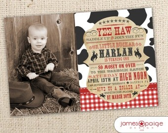 Cowboy Themed Western Photo Birthday Invitation (5x7) Digital Design