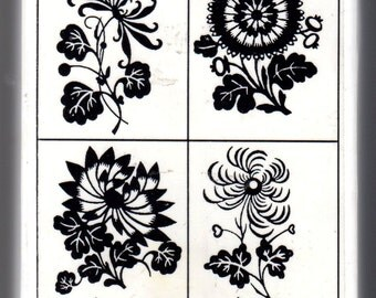 Papercut Flowers - Pretty Boxed Set of 4 WM Rubber Stamps - Cards - Crafts - ATC - Domino Art - Scrapbooks - FREE Shipping