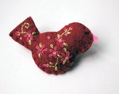 Handmade Felt Bird Brooch Pin in Brick Red with Bright Pink and Green Embroidered Floral and Beaded Embellishments - Scarf of Shawl Pin